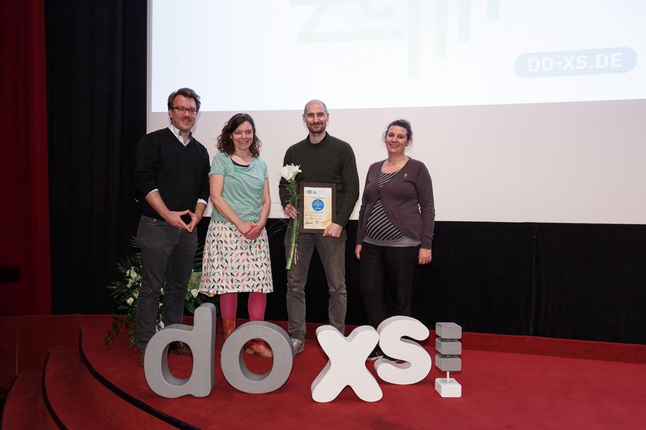 Marc-André Schmachtel (ECFA Jury), Remke Oosterhuis (ECFA Jury), Robin Jensen (Preisträger ECFA Documentary Award) und Elise Van Beurden (ECFA Jury)